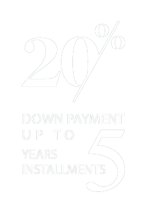 20% down payment up to 5 years installments